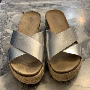 Steve Madden silver espadrilles size 10